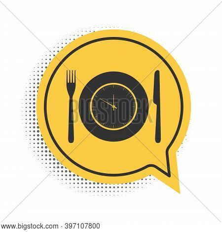 Black Plate With Clock, Fork And Knife Icon Isolated On White Background. Lunch Time. Eating, Nutrit