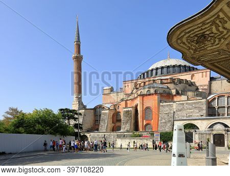 Istanbul, Turkey - October 05, 2020. View Of Hagia Sophia And Fountain Of Sultan Ahmed Iii In The Gr