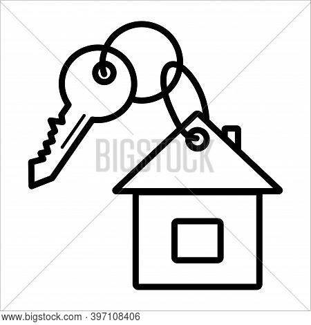Real Estate Icon. Key With Residential Building Isolated On White Background