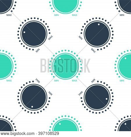Green Dial Knob Level Technology Settings Icon Isolated Seamless Pattern On White Background. Volume