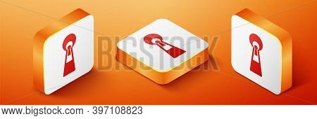 Isometric Keyhole Icon Isolated On Orange Background. Key Of Success Solution. Keyhole Express The C