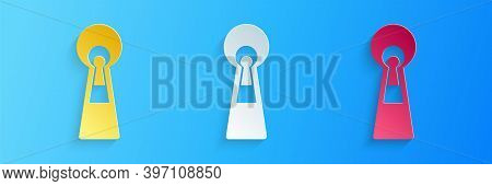 Paper Cut Keyhole Icon Isolated On Blue Background. Key Of Success Solution. Keyhole Express The Con