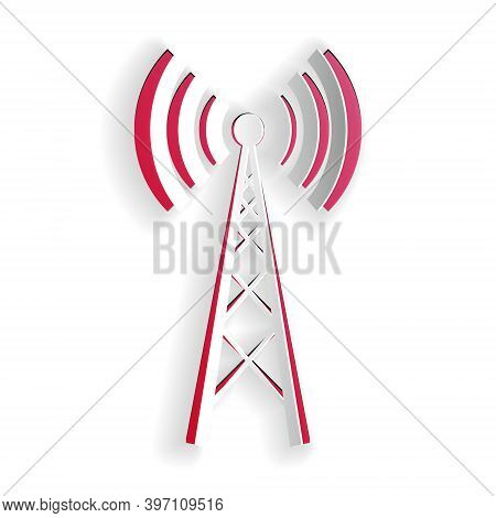 Paper Cut Antenna Icon Isolated On White Background. Radio Antenna Wireless. Technology And Network