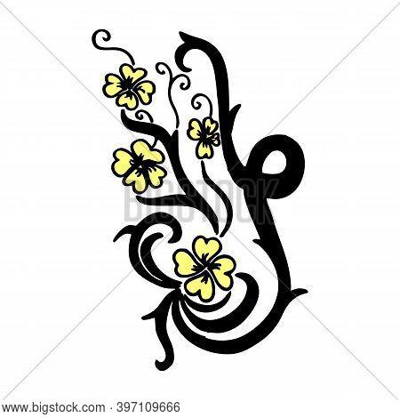 Blossom Flower With Leaves On Branch. Black Outline Isolated On White. Botany Illustration. Garden F