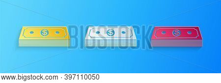 Paper Cut Paper Money American Dollars Cash Icon Isolated On Blue Background. Money Banknotes Stack