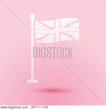 Paper Cut Flag Of Great Britain On Flagpole Icon Isolated On Pink Background. Uk Flag Sign. Official
