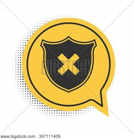 Black Shield And Cross X Mark Icon Isolated On White Background. Denied Disapproved Sign. Protection