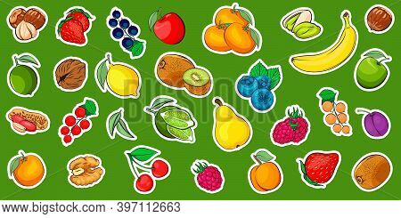 Fruits And Berries And Nuts Vector Sticker Pack. Fruits Isolated. Strawberry, Raspberry, Blackberry,