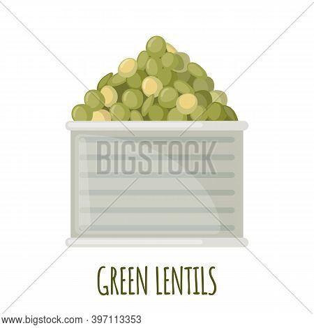 Canned Lentils In Can Icon In Flat Style Isolated On White.