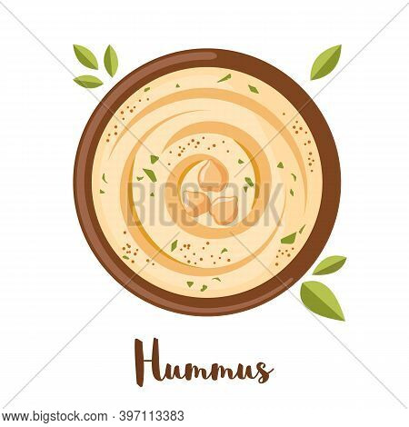 Vector Chickpeas Hummus Icon In Flat Style Isolated On White.