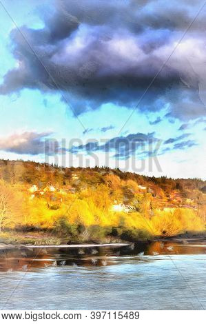 River Tay Landscape Colorful Painting Looks Like Picture, Perth, Scotland, Uk.