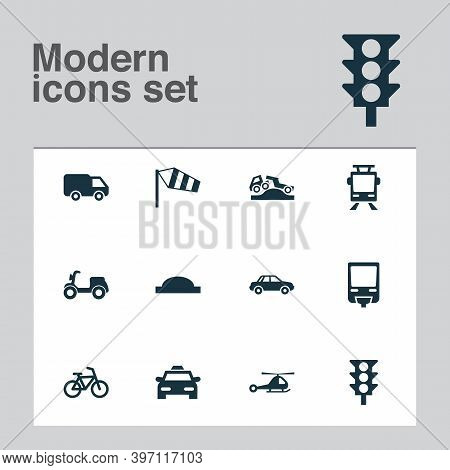 Shipment Icons Set With Dangerous, Van, Traffic Light And Other Skooter Elements. Isolated Vector Il