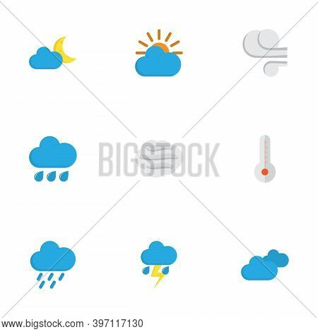 Climate Icons Flat Style Set With Wind, Blizzard, Moon And Other Crescent Elements. Isolated Vector