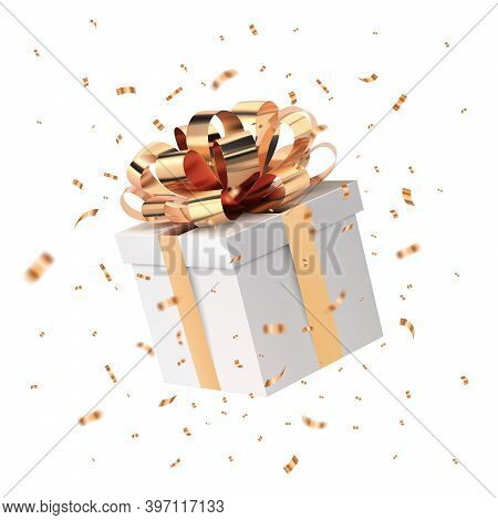 Christmas Present And Transparent Confetti. Xmas Background. Flying White Closed Gift Box With Gold