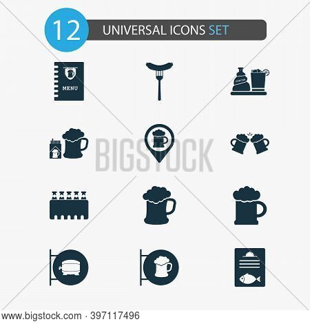 Beverages Icons Set With Beer, Ale Sign, Case Of Beer And Other Ale Box Elements. Isolated Vector Il