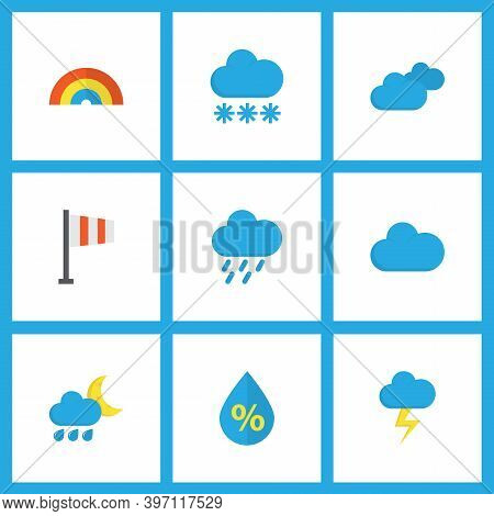 Weather Icons Flat Style Set With Hail, Cloudy, Flag And Other Cloud Elements. Isolated Vector Illus