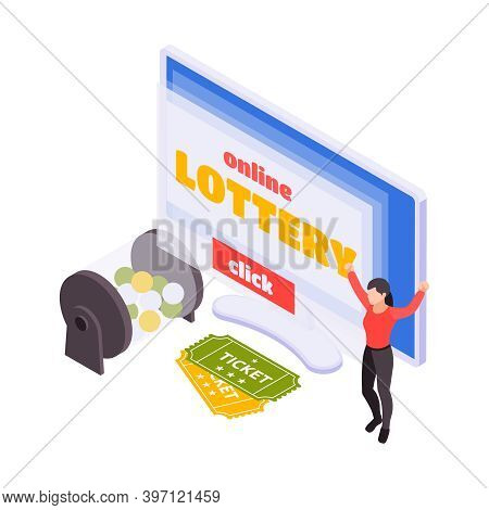 Lottery Isometric Lotto Rotation Machine With Balls And Lottery Tickets Vector Illustration
