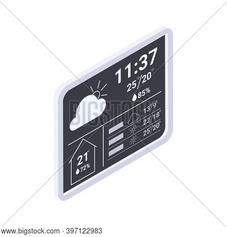 Meteorology Weather Forecast Isometric Composition With Flat Panel Displaying Weather Conditions Vec