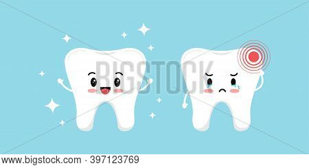 Healty Tooth And With Pain Ache Isolated On Blue Background. Cute Sick Teeth Character. Flat Cartoon