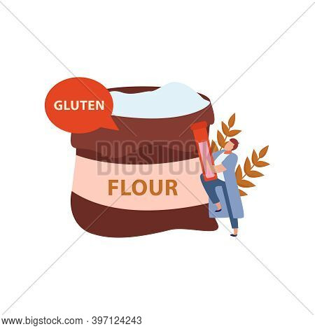 Gluten Intolerance With Bag Of Flour And Human Character Flat Vector Illustration