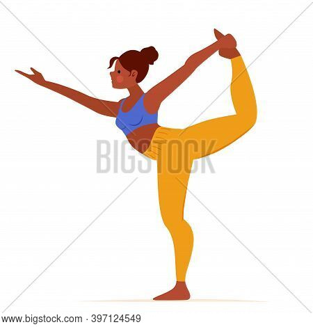 Cartoon Girl Practicing Yoga Exercise Lord Of Dance Isolated On White Background. Yogini Showing Nat