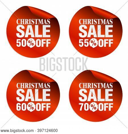 Christmas Sale Stickers Set 50%, 55%, 60%, 70% Off With Santa Claus Beard. Vector Illustration