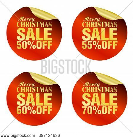Merry Christmas Sale Stickers Set 50%, 55%, 60%, 70% Off. Vector Illustration