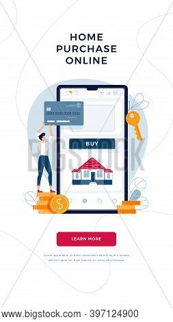 Home Purchase Online Banner. Man Buys A House Paying By Credit Card And Phone. Mortgage, Property We