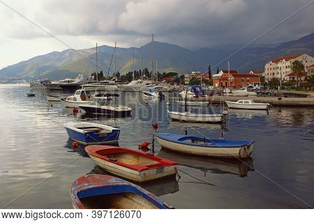 Beautiful Mediterranean Landscape With Boats On Water. Montenegro, Adriatic Sea, View Of Bay Of Koto