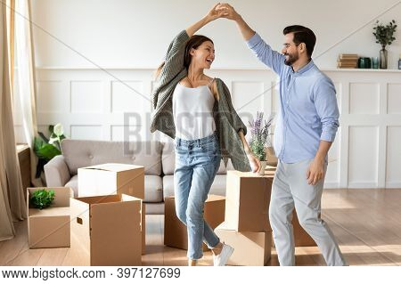 Happy Couple Renters Dance On Moving Day
