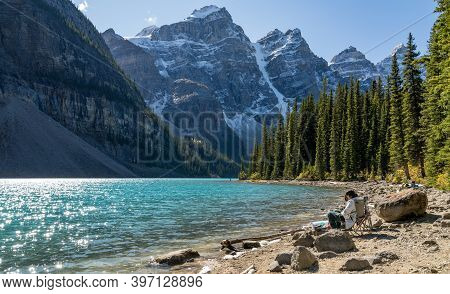 Alberta, Canada - Sep 27 2020 : Moraine Lake Rockpile Trail In Summer Sunny Day Morning, Tourists En