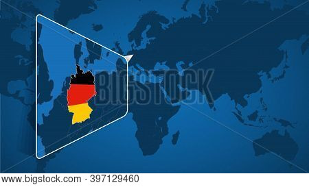 Location Of Germany On The World Map With Enlarged Map Of Germany With Flag. Geographical Vector Tem