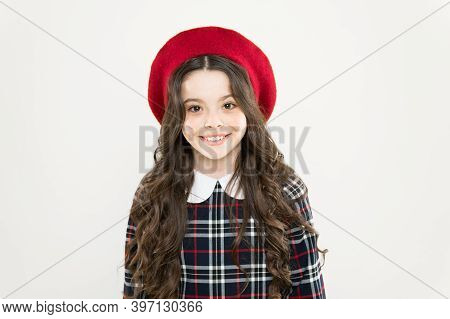 Feel Extraordinary. Parisian Kid French Beret. How To Wear Checkered Dress. Girl Long Curly Hair. Vi