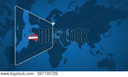Location Of Latvia On The World Map With Enlarged Map Of Latvia With Flag. Geographical Vector Templ