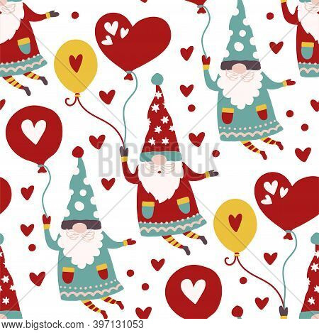 Fairytale Fantastic Gnome Dwarf Elf Cartoon Doodle Funny Vector Seamless Pattern. Cute Kids Backgrou