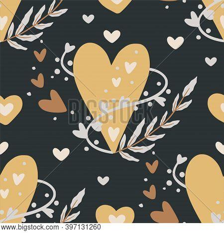 Boho Heart Vector Seamless Pattern. Romance Floral Wallpaper Card.