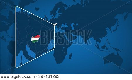 Location Of Hungary On The World Map With Enlarged Map Of Hungary With Flag. Geographical Vector Tem