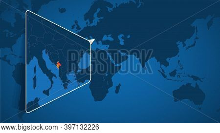 Location Of Montenegro On The World Map With Enlarged Map Of Montenegro With Flag. Geographical Vect