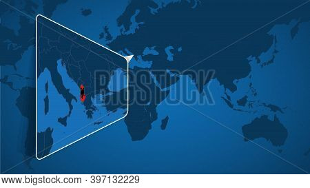 Location Of Albania On The World Map With Enlarged Map Of Albania With Flag. Geographical Vector Tem
