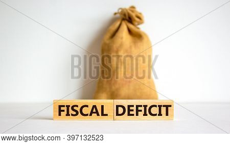 Fiscal Deficit. Concept Words 'fiscal Deficit' On Blocks On A Beautiful White Background. Large Canv
