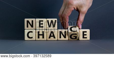 New Change - New Chance. Hand Flips A Cube And Changes The Words 'new Change' To 'new Chance'. Beaut