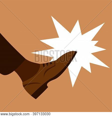 Boot Kick. Male Leg. Aggression Or Dismissal From Work. Vector Illustration.