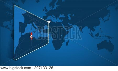 Location Of Tunisia On The World Map With Enlarged Map Of Tunisia With Flag. Geographical Vector Tem