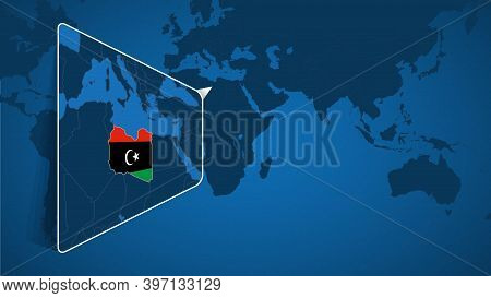 Location Of Libya On The World Map With Enlarged Map Of Libya With Flag. Geographical Vector Templat
