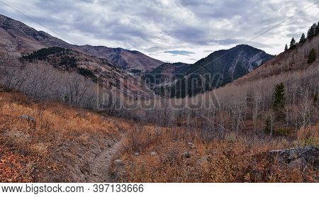 Slate Canyon Views From Hiking Trail Fall Leaves Mountain Landscape, Y Trail, Provo Peak, Slide Cany