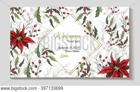 Banner Of Winter Flowers (poinsettia, White Mistletoe, Holly) Isolated On A White Background. Realis