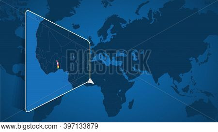 Location Of Togo On The World Map With Enlarged Map Of Togo With Flag. Geographical Vector Template