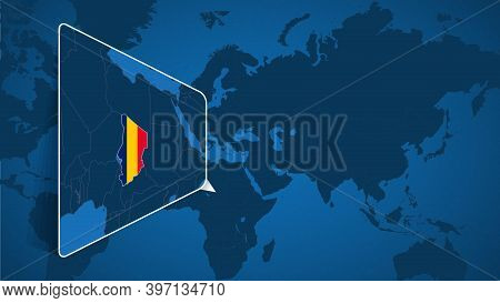 Location Of Chad On The World Map With Enlarged Map Of Chad With Flag. Geographical Vector Template