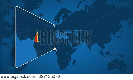 Location Of Cameroon On The World Map With Enlarged Map Of Cameroon With Flag. Geographical Vector T