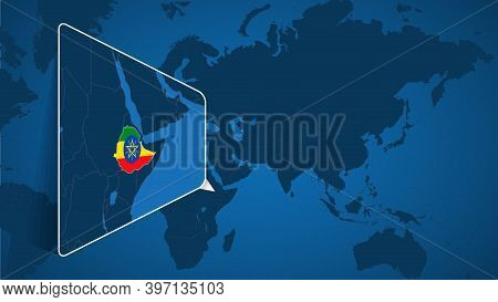 Location Of Ethiopia On The World Map With Enlarged Map Of Ethiopia With Flag. Geographical Vector T